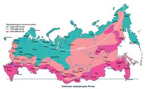 Регионы России и СНГ с хорошей инсоляцией